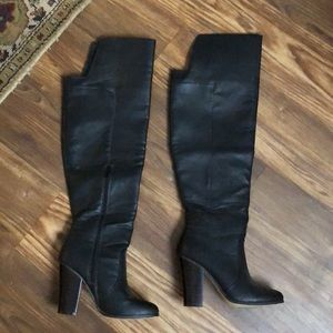 Over the knee heeled boots